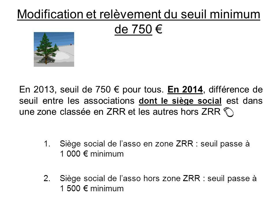 Modification et relèvement du seuil minimum de 750 €