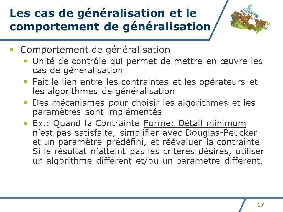 Les cas de généralisation et le comportement de généralisation