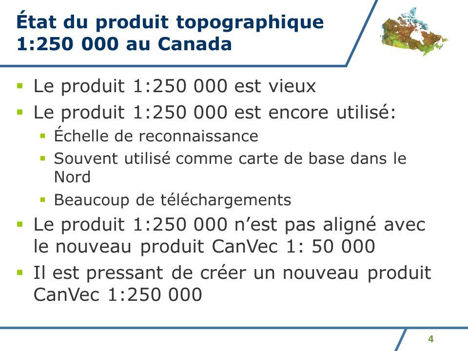 État du produit topographique 1:250 000 au Canada