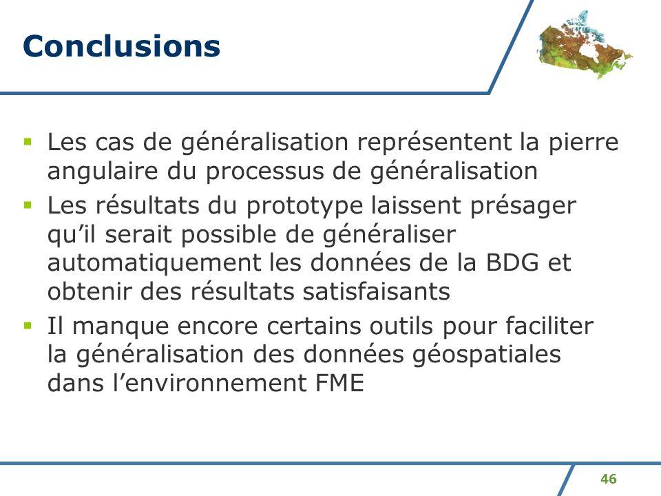 Conclusions Les cas de généralisation représentent la pierre angulaire du processus de généralisation.