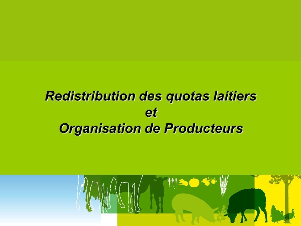 Redistribution des quotas laitiers et Organisation de Producteurs