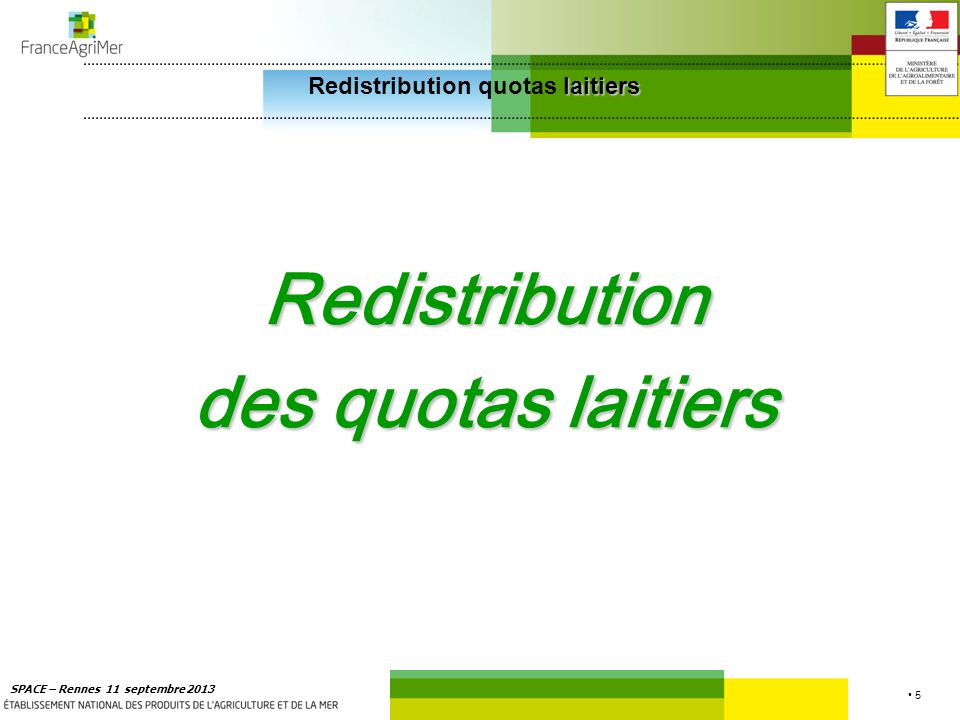 Redistribution quotas laitiers
