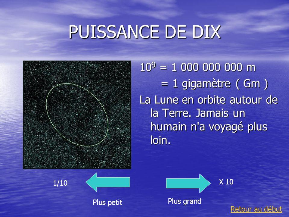 PUISSANCE DE DIX 109 = 1 000 000 000 m = 1 gigamètre ( Gm )