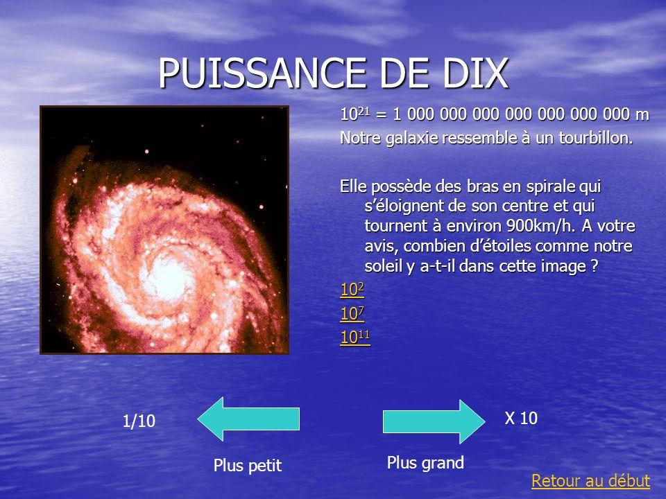 PUISSANCE DE DIX 1021 = 1 000 000 000 000 000 000 000 m. Notre galaxie ressemble à un tourbillon.
