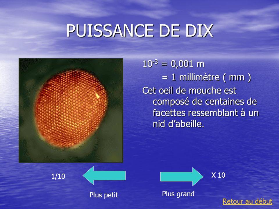 PUISSANCE DE DIX 10-3 = 0,001 m = 1 millimètre ( mm )