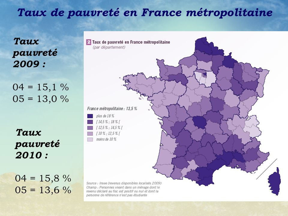 Taux de pauvreté en France métropolitaine