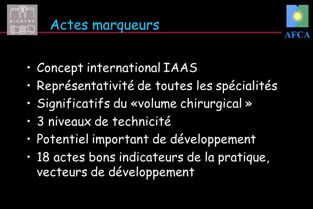 Actes marqueurs Concept international IAAS