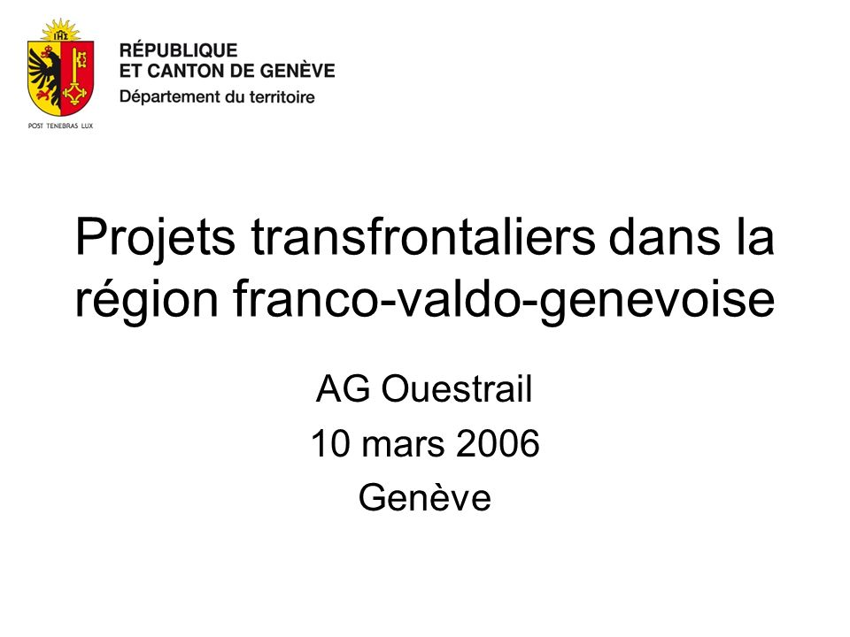 Projets transfrontaliers dans la région franco-valdo-genevoise