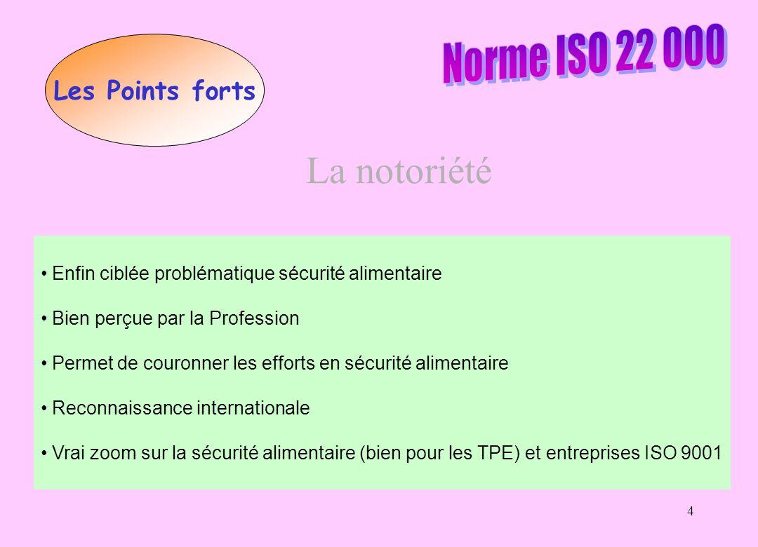 La notoriété Norme ISO 22 000 Les Points forts
