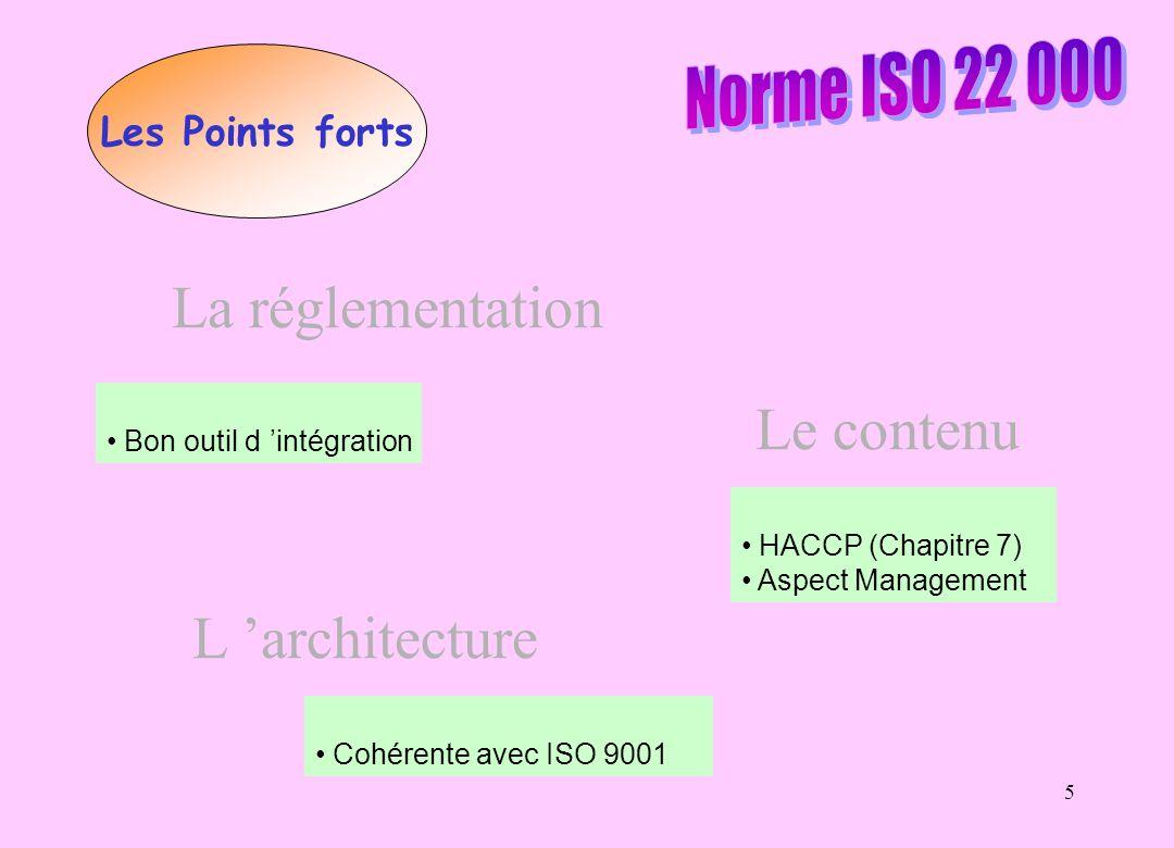 La réglementation Le contenu L 'architecture Norme ISO 22 000