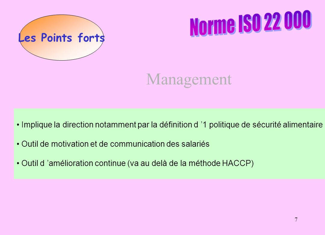 Management Norme ISO 22 000 Les Points forts