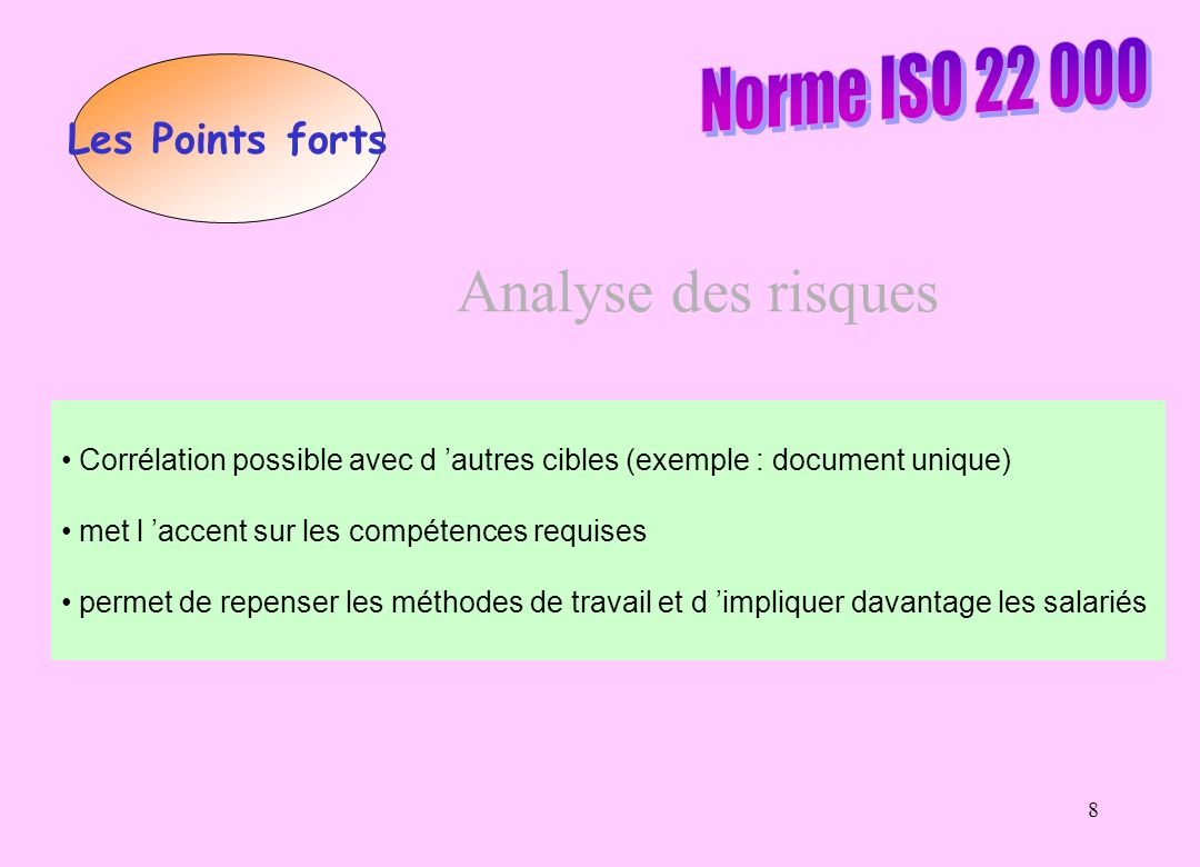 Analyse des risques Norme ISO 22 000 Les Points forts