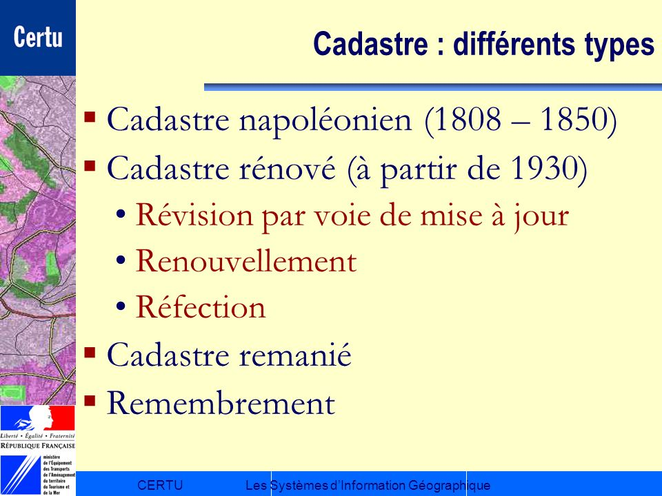 Cadastre : différents types
