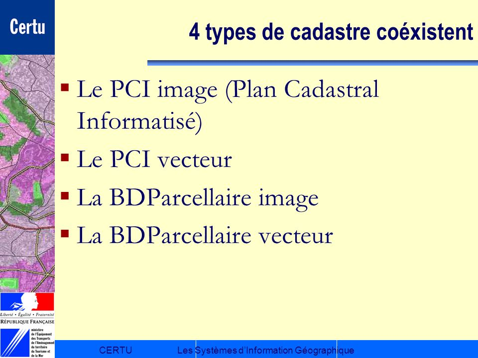 4 types de cadastre coéxistent