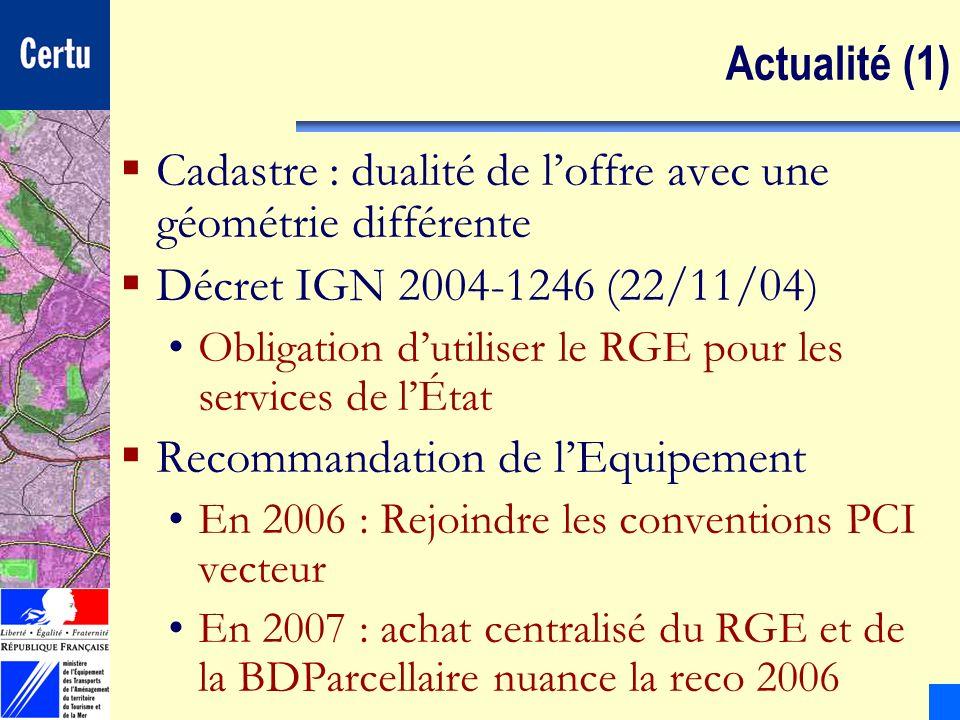Cadastre : dualité de l'offre avec une géométrie différente