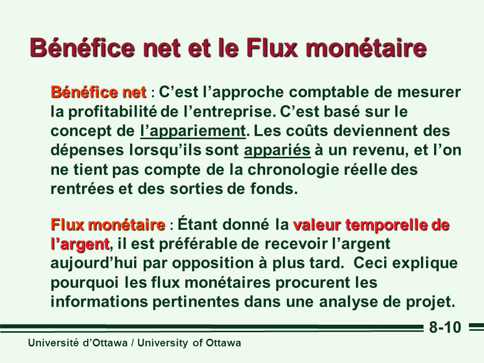 Bénéfice net et le Flux monétaire