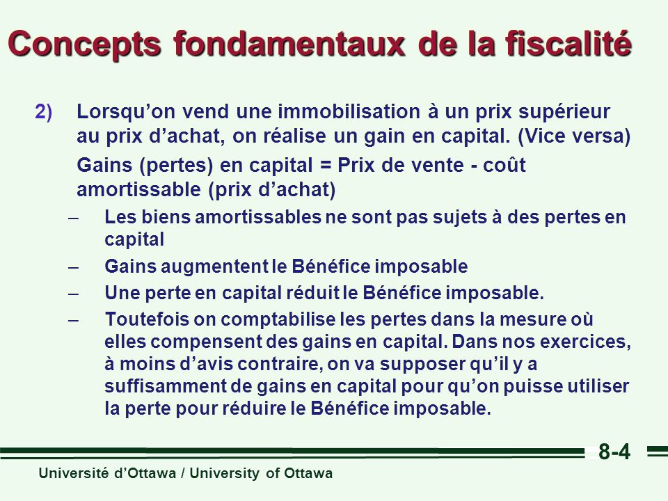 Concepts fondamentaux de la fiscalité