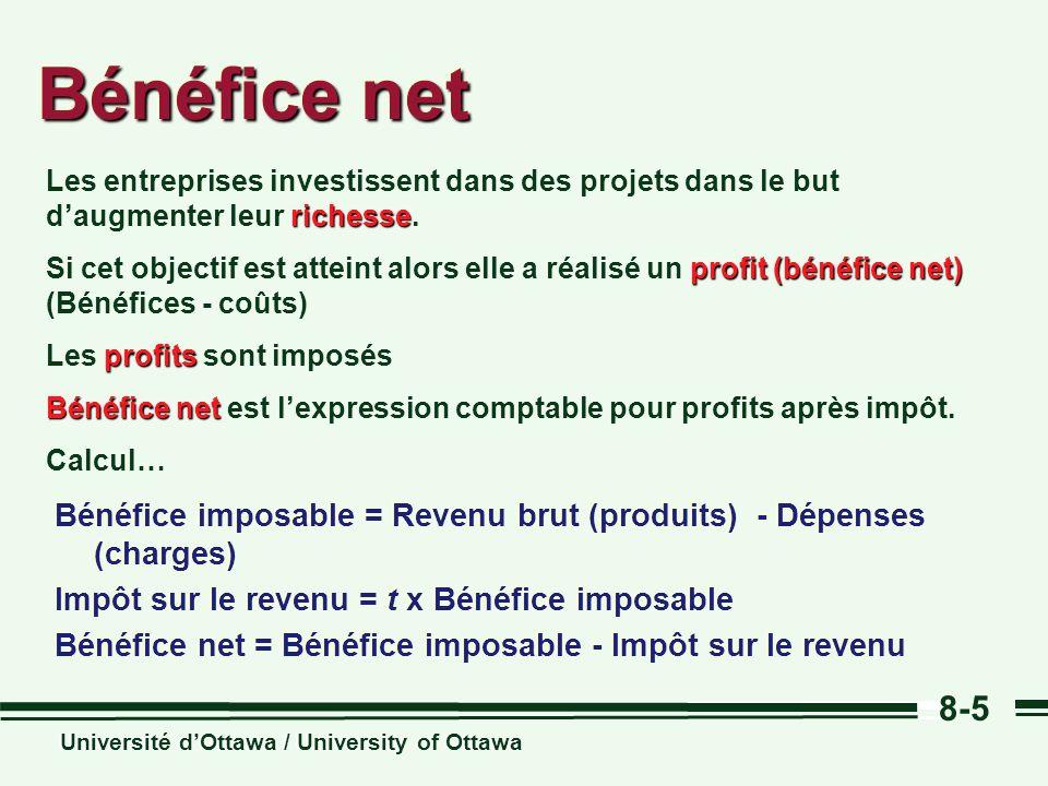 Bénéfice net Les entreprises investissent dans des projets dans le but d'augmenter leur richesse.