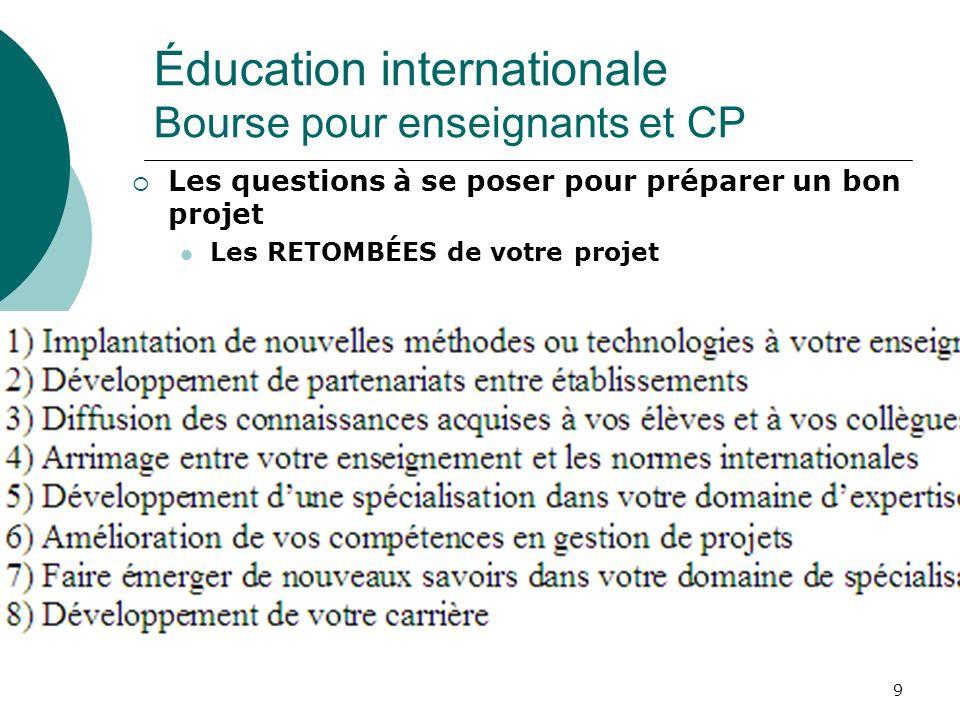 Éducation internationale Bourse pour enseignants et CP