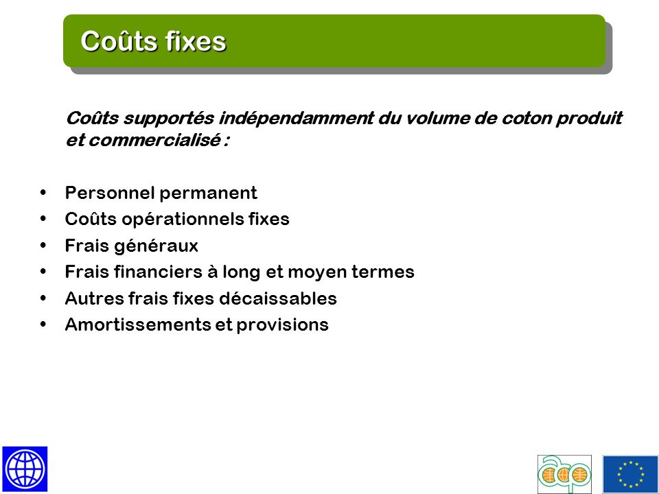 Fixed Costs Coûts fixes