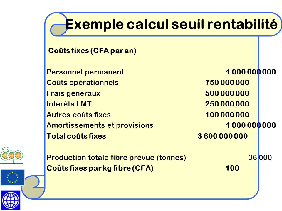 Exemple calcul seuil rentabilité
