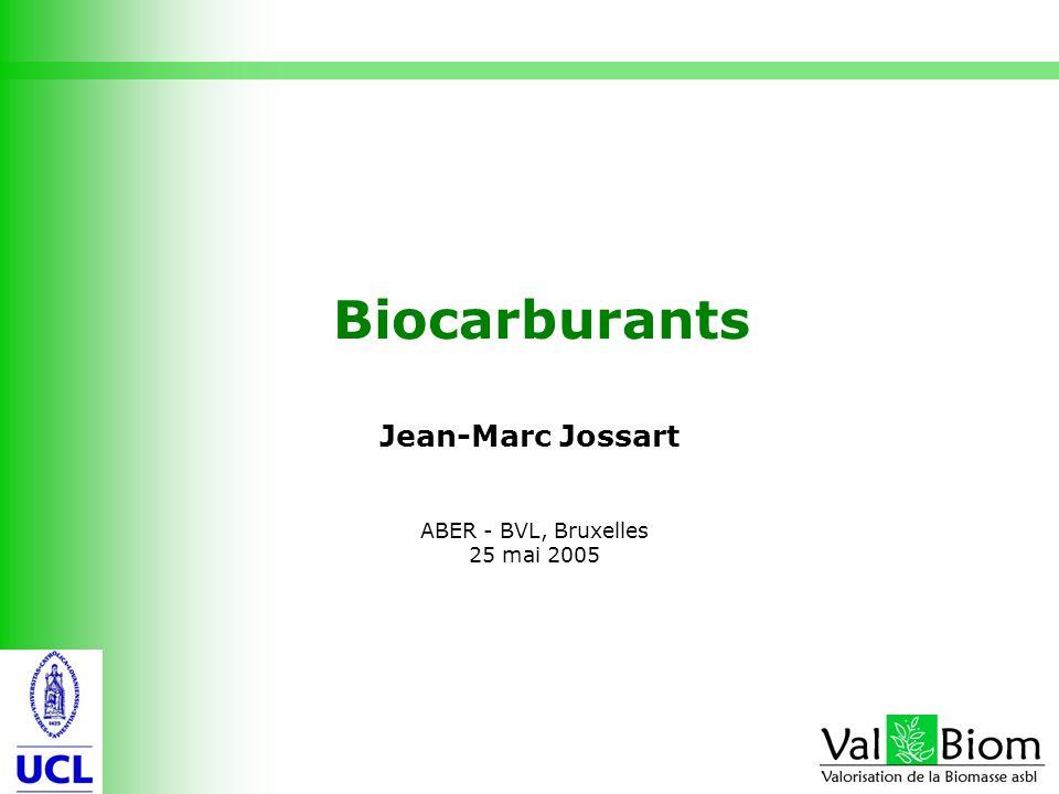 Biocarburants Jean-Marc Jossart ABER - BVL, Bruxelles 25 mai 2005