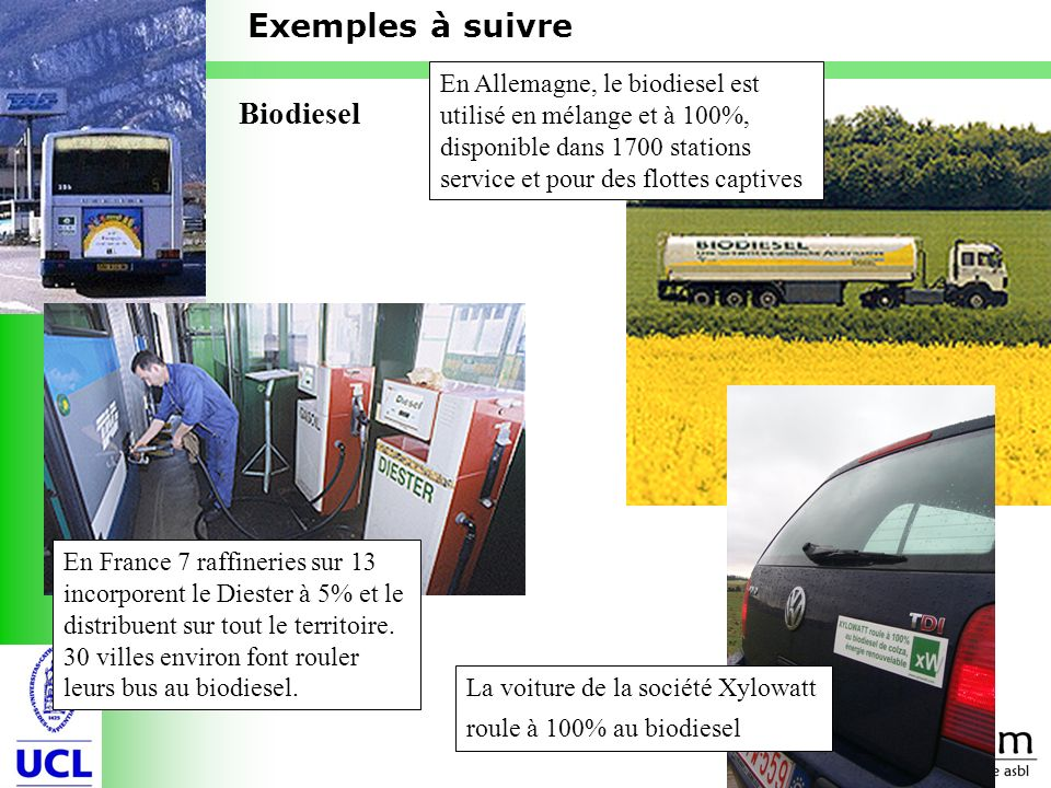 Exemples à suivre Biodiesel
