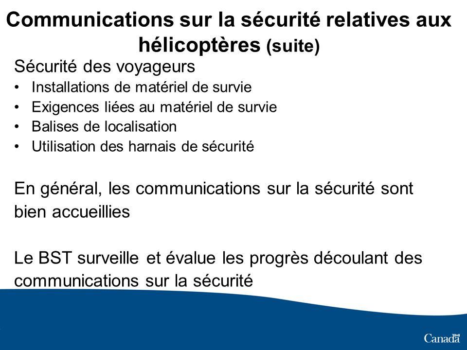 Communications sur la sécurité relatives aux hélicoptères (suite)