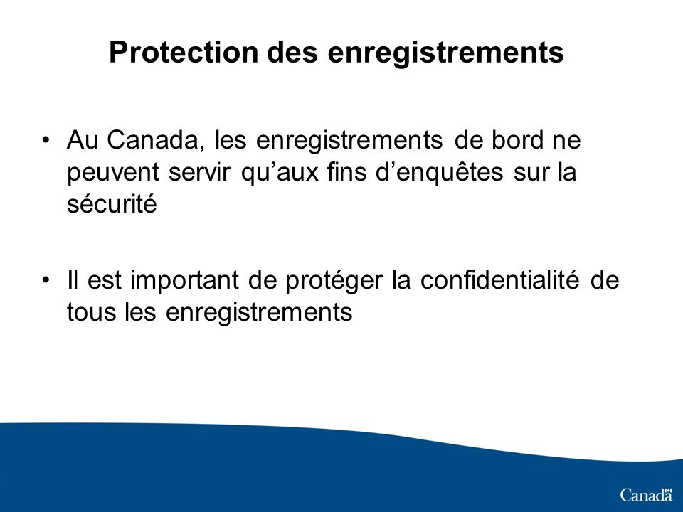 Protection des enregistrements