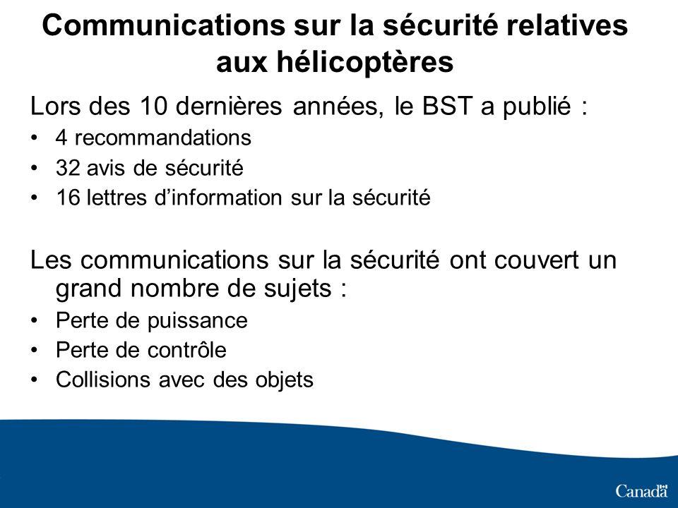 Communications sur la sécurité relatives aux hélicoptères