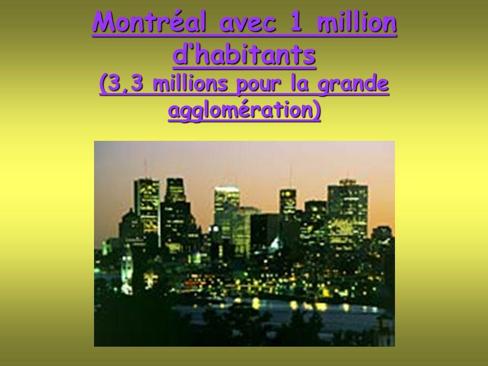 Montréal avec 1 million d'habitants (3,3 millions pour la grande agglomération)