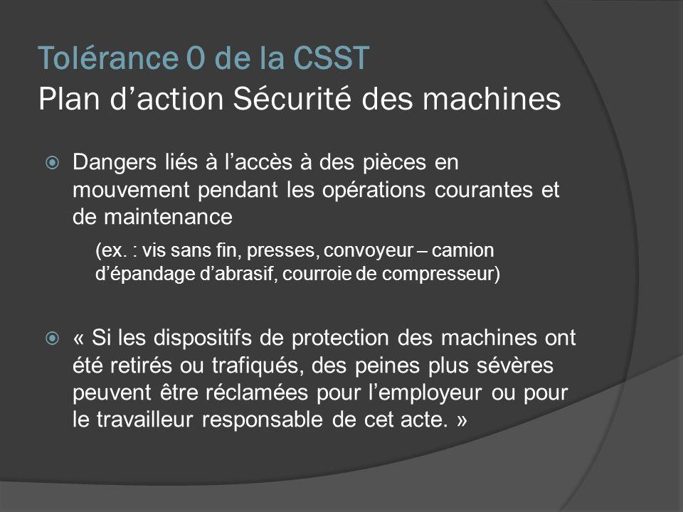 Tolérance 0 de la CSST Plan d'action Sécurité des machines