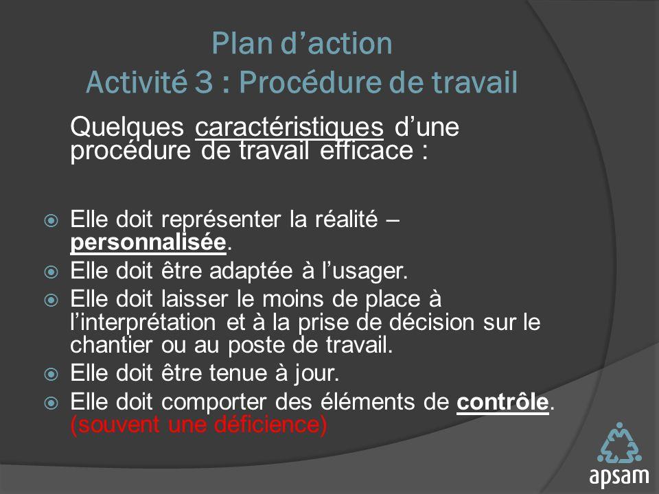 Plan d'action Activité 3 : Procédure de travail