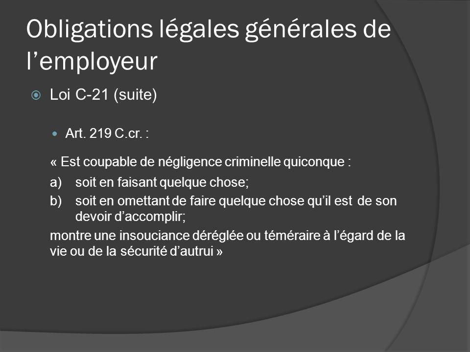 Obligations légales générales de l'employeur