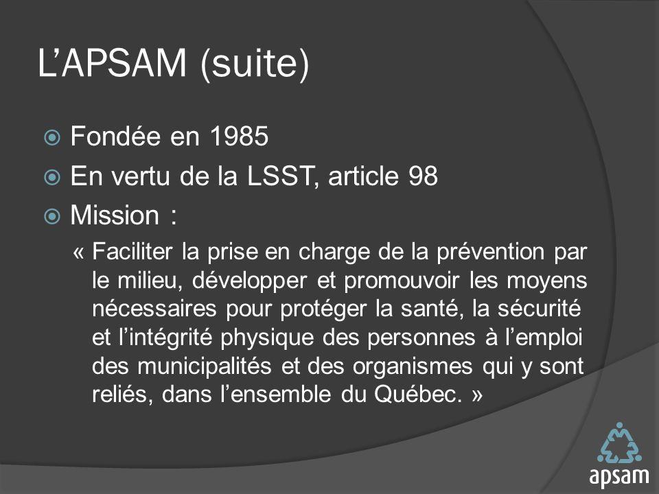 L'APSAM (suite) Fondée en 1985 En vertu de la LSST, article 98
