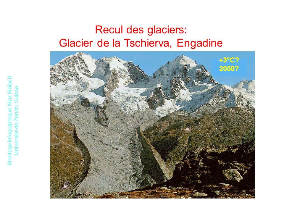 Recul des glaciers: Glacier de la Tschierva, Engadine
