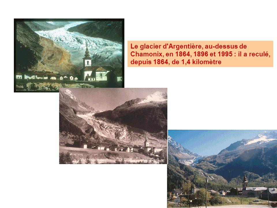 Le glacier d Argentière, au-dessus de Chamonix, en 1864, 1896 et 1995 : il a reculé, depuis 1864, de 1,4 kilomètre
