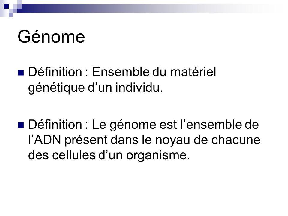 Génome Définition : Ensemble du matériel génétique d'un individu.