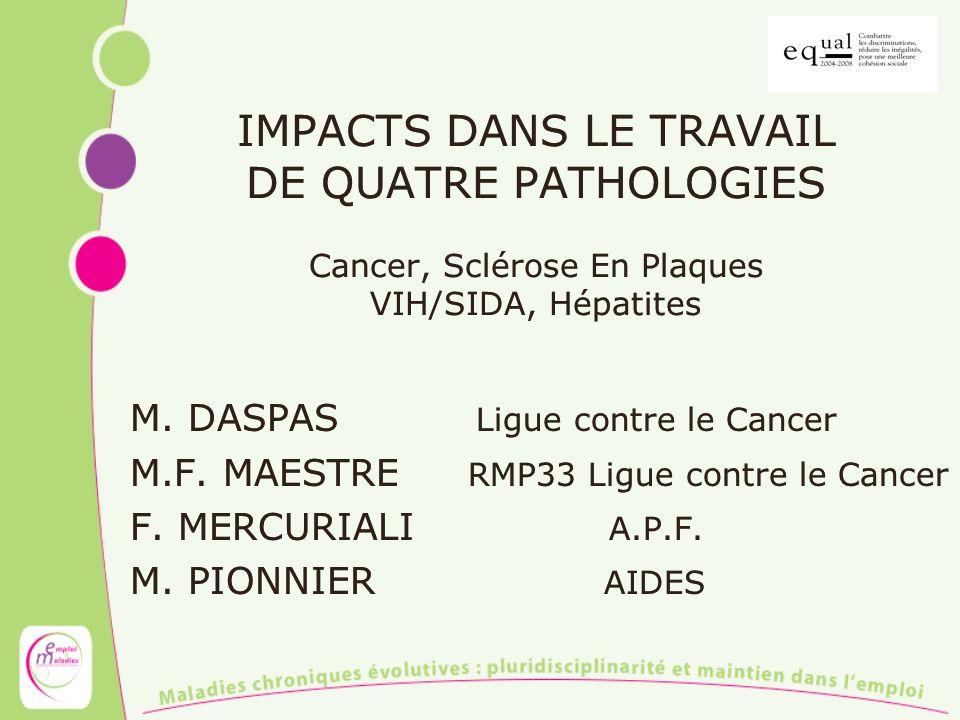 IMPACTS DANS LE TRAVAIL DE QUATRE PATHOLOGIES Cancer, Sclérose En Plaques VIH/SIDA, Hépatites