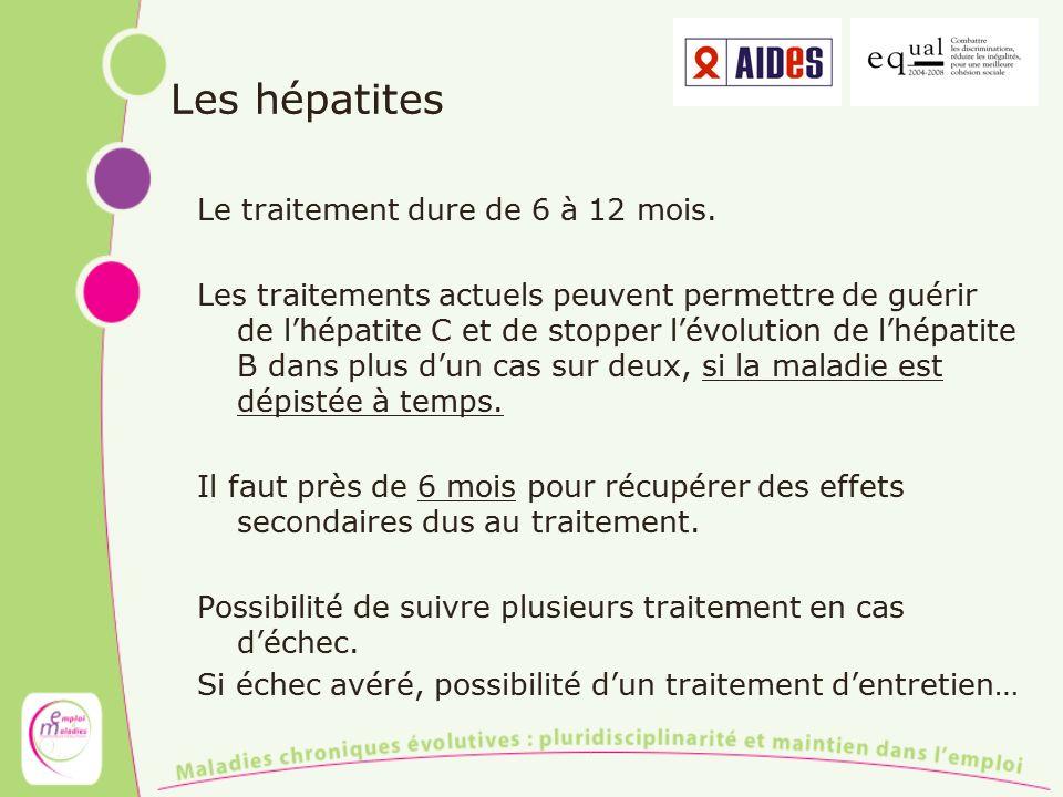 Les hépatites Le traitement dure de 6 à 12 mois.