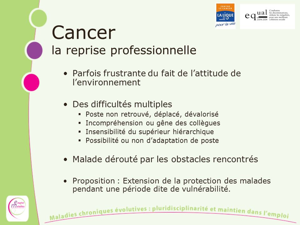 Cancer la reprise professionnelle