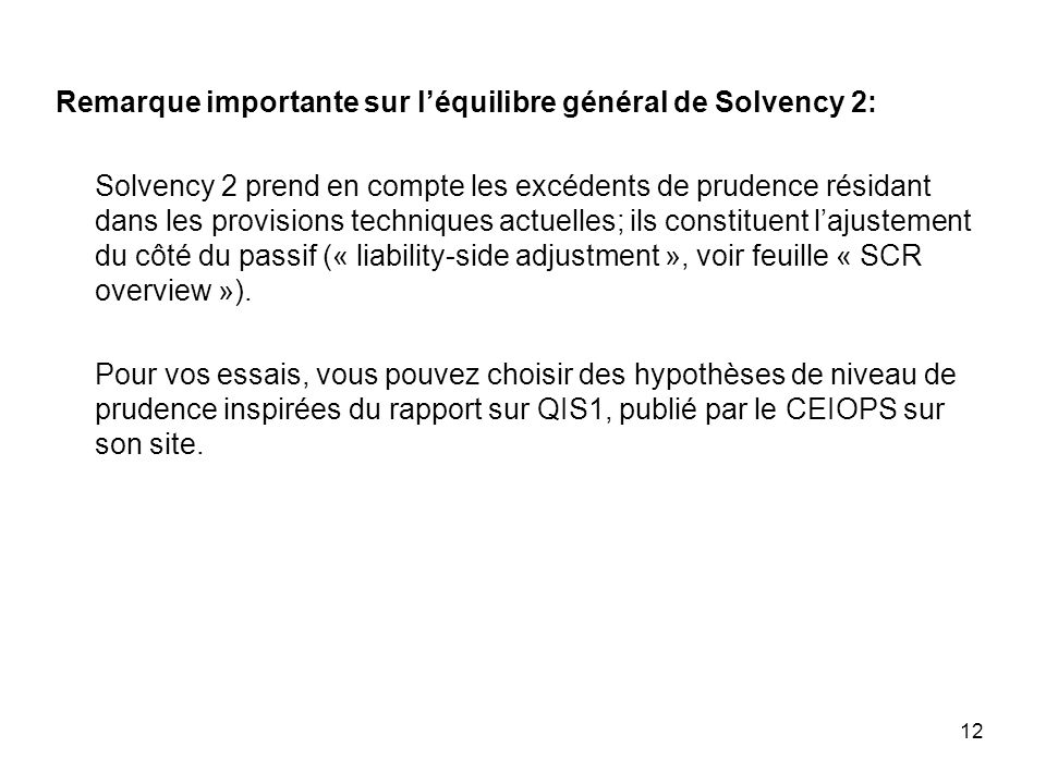 Remarque importante sur l'équilibre général de Solvency 2: