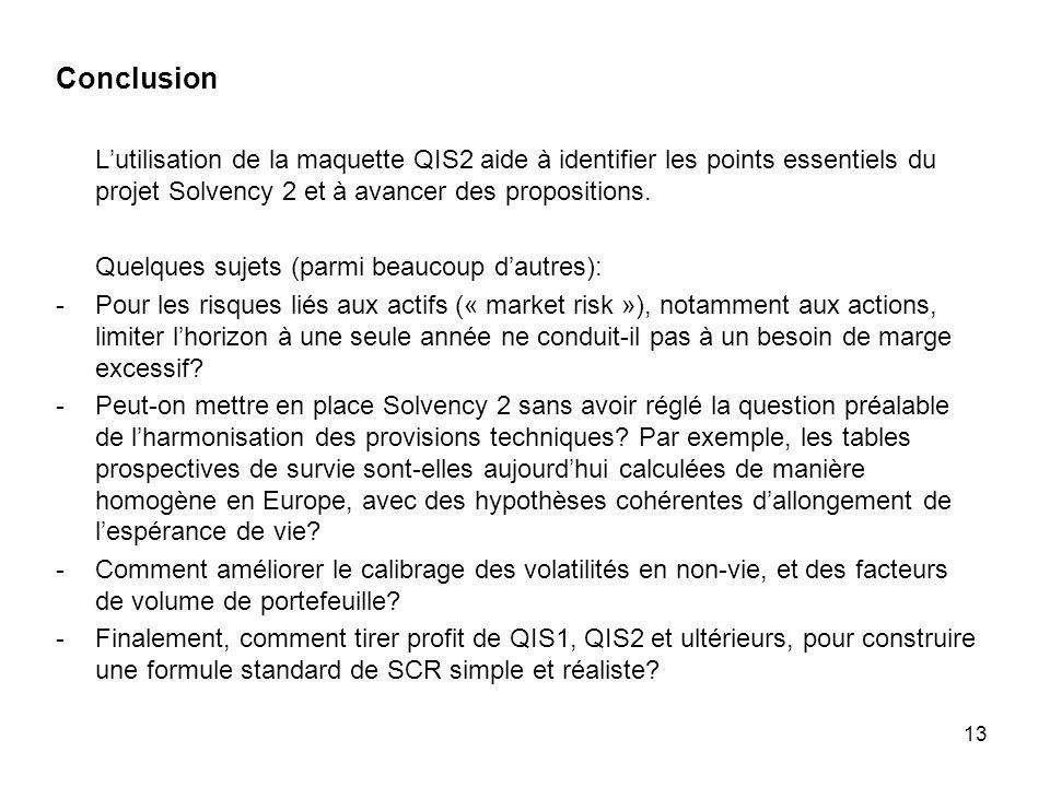 Conclusion L'utilisation de la maquette QIS2 aide à identifier les points essentiels du projet Solvency 2 et à avancer des propositions.