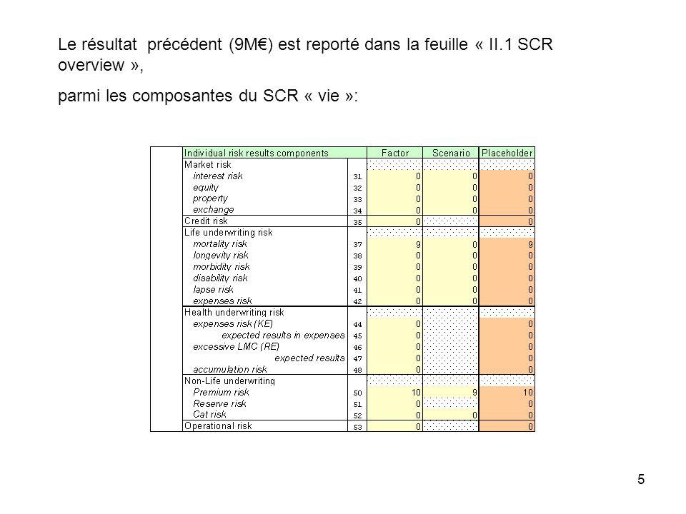 Le résultat précédent (9M€) est reporté dans la feuille « II
