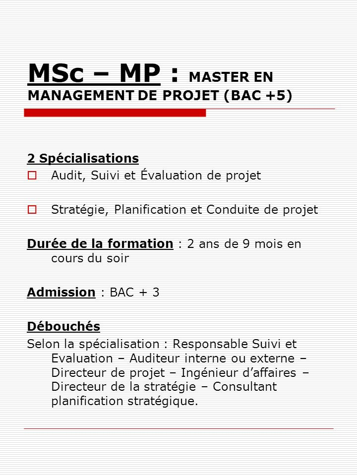 MSc – MP : MASTER EN MANAGEMENT DE PROJET (BAC +5)