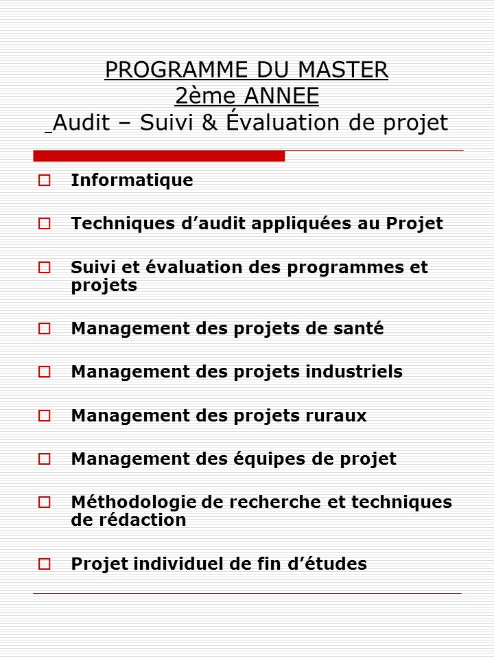 PROGRAMME DU MASTER 2ème ANNEE Audit – Suivi & Évaluation de projet