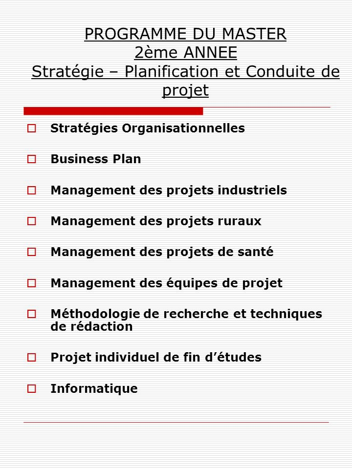 PROGRAMME DU MASTER 2ème ANNEE Stratégie – Planification et Conduite de projet