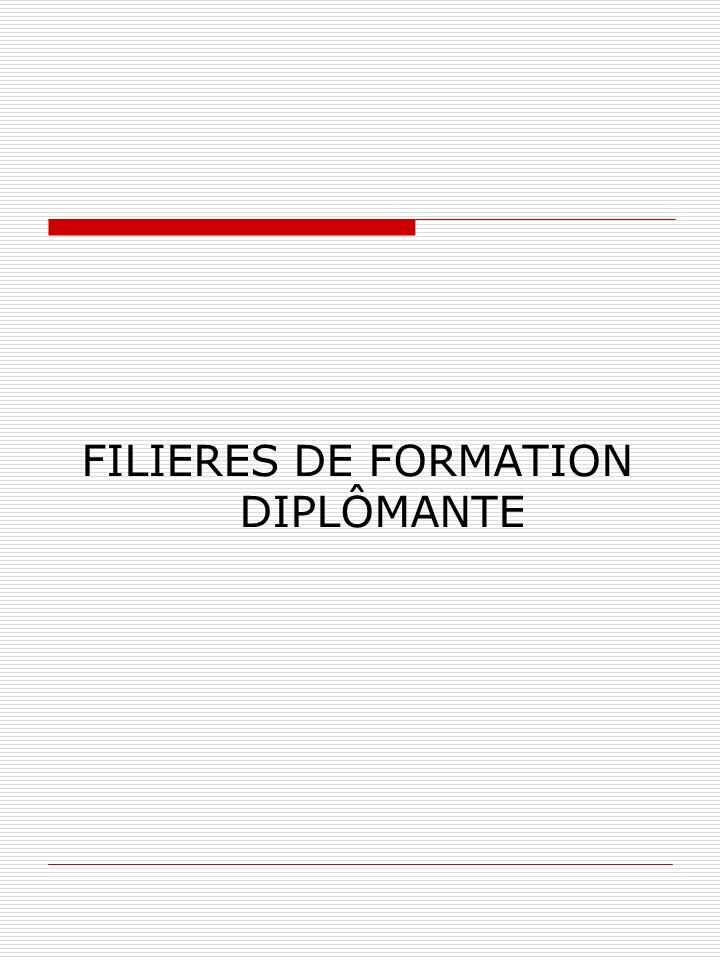FILIERES DE FORMATION DIPLÔMANTE
