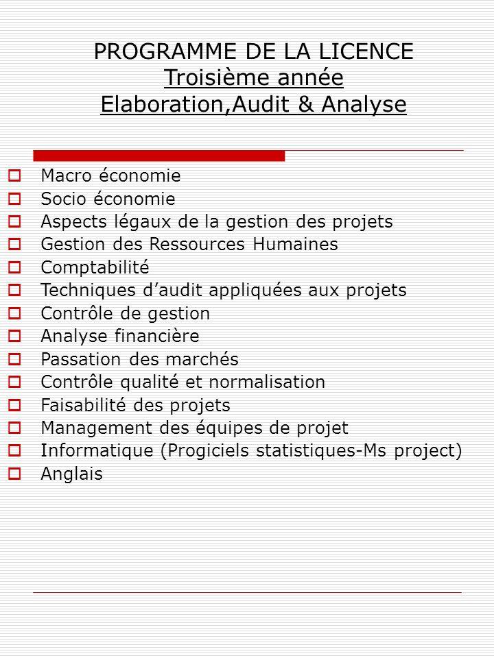 PROGRAMME DE LA LICENCE Troisième année Elaboration,Audit & Analyse