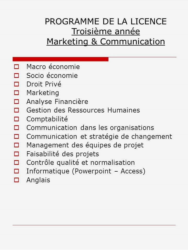 PROGRAMME DE LA LICENCE Troisième année Marketing & Communication
